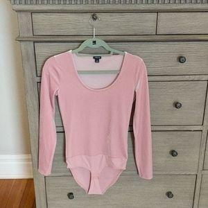 J. Crew Pink Velvet Long Sleeve Bodysuit XS